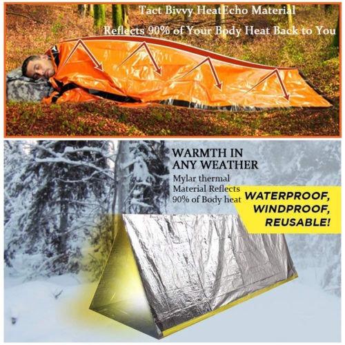 Emergencia Saco de Dormir Térmico Impermeable Supervivencia Acampar Aire Libre //