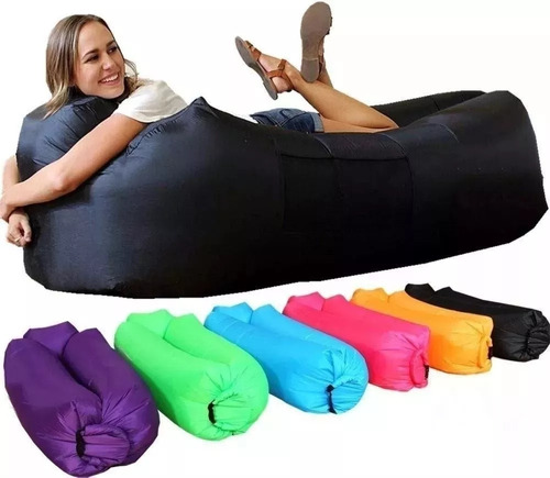 saco de dormir inflável - puff - sofá- acampamento
