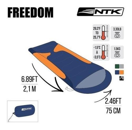 saco de dormir térmico nautika freedom + travesseiro ntk
