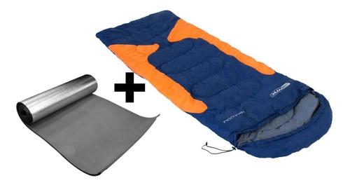 saco de dormir térmico ntk freedom azul + isolante termico