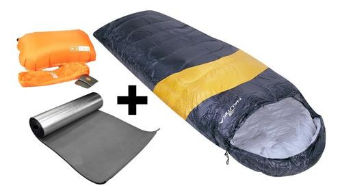 saco de dormir viper laranja +isolante + travesseiro nauitka
