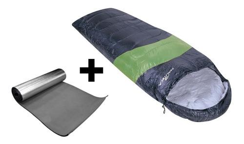saco de dormir viper nautika verde/preto + isolante termico