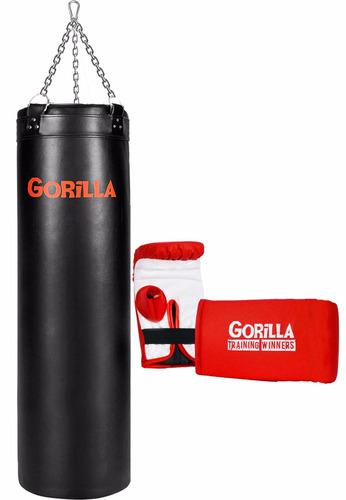 saco de pancada 120 cm + luva - gorilla