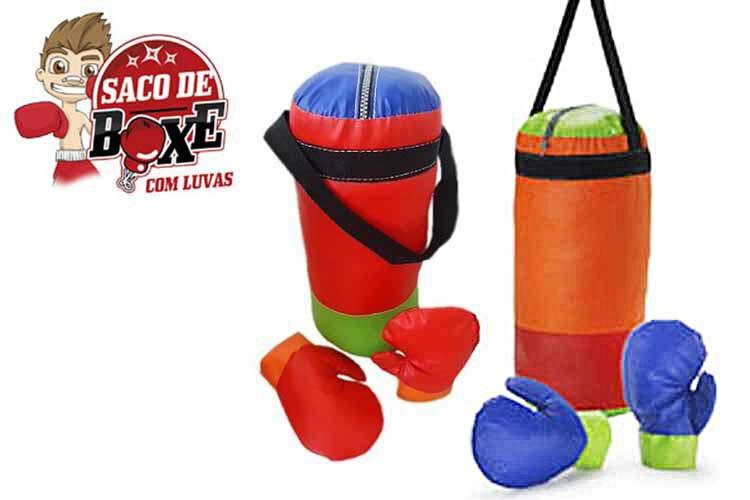 aaff50683 Saco De Pancada Boxe Infantil + Luva 50% Promoção - R  49