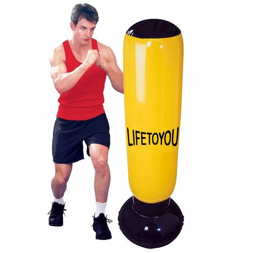 saco de pancada inflavel amarelo luta treino boxe mma