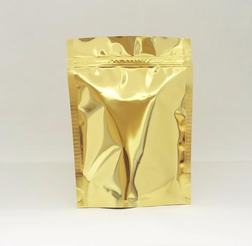 saco dourado com ziplock 14x19cm - 50 unidades