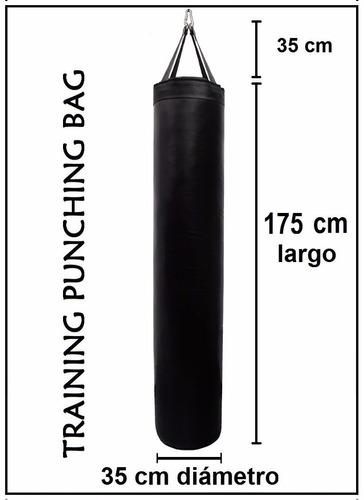 saco marciales boxeo 175 cm largo x 35 diámetro sin relleno