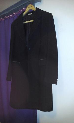 saco negro de paño,100% lana,con forro, talle 4,largo 7/8!