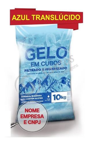 saco p gelo azul translúcido 10kg s/alça código de barra 500