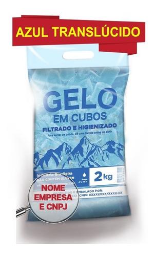 saco p gelo azul translúcido 2kg c/alça código de barra c500