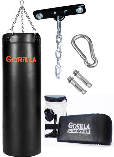 saco pancada + luva + suporte! kit completo - gorilla