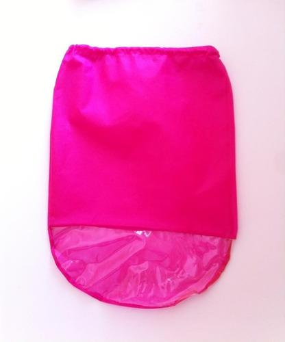 saco para sapatos em tnt rosa c/ visor plástico - kit c/ 50u