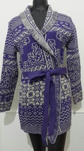 saco parka de lana grueso violeta gris