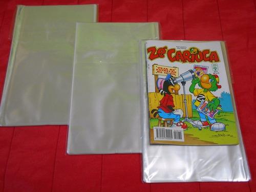 saco plástico p/ gibis e mangás - 100 unidades - formatinho