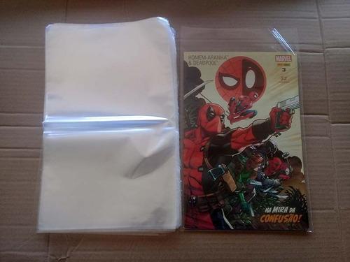 saco plástico p/ gibis hq manga quadrinhos 200 unid 18x30