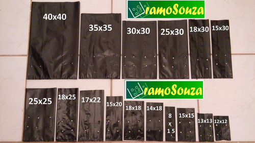 saco saquinho plástico para mudas - 15 x 20 x 0,20 - 200 un