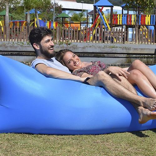 saco sofá descanso inflável air bag puff azul yins wind u1