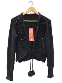 Saco Sweater Lana Negro Mujer Pompones Perlas Talle L