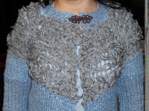 saco, sweater, pullover con volados en dos agujas t-009