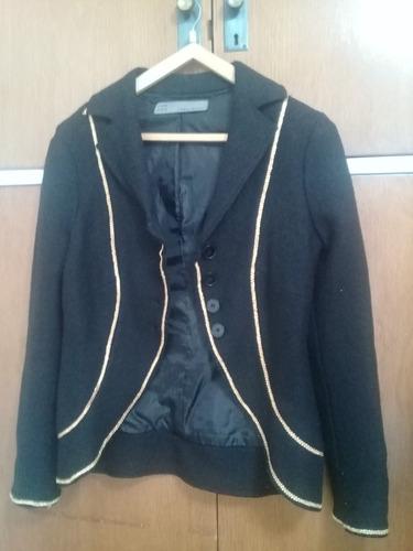 saco tapado corto blazer lana boucle zara negro dorado