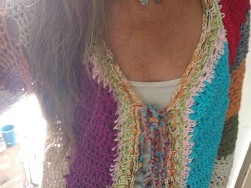 saco tejido a mano nuevo crochet t/ u, mujer artesanal