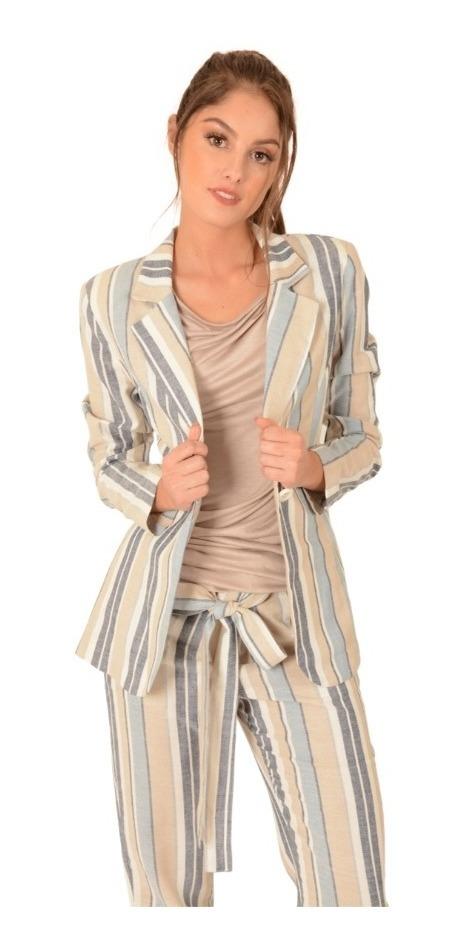 Saco Vestir Casual Rayas Dama Mujer Comodo Calido Moda