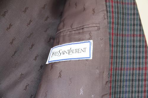 saco yves saint laurent cuadriculado lana