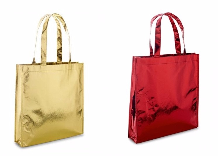 0316682f1 Sacola Bolsa Tnt Metalizado Brinde Compras Empres Kit 30 Un - R$ 220 ...