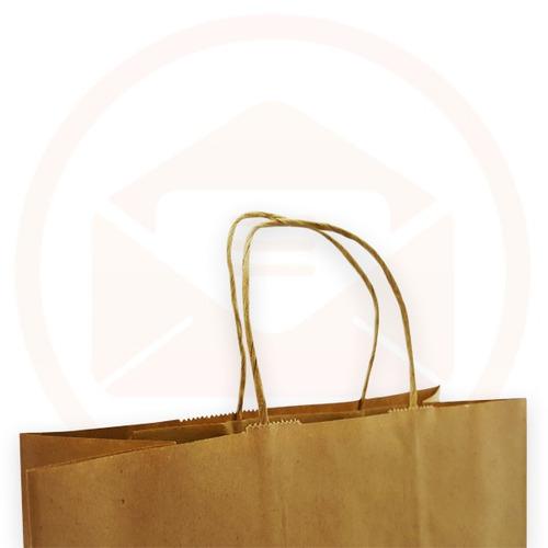 sacola de papel kraft com alça - 22 x 18 x 09 - pct 50 und