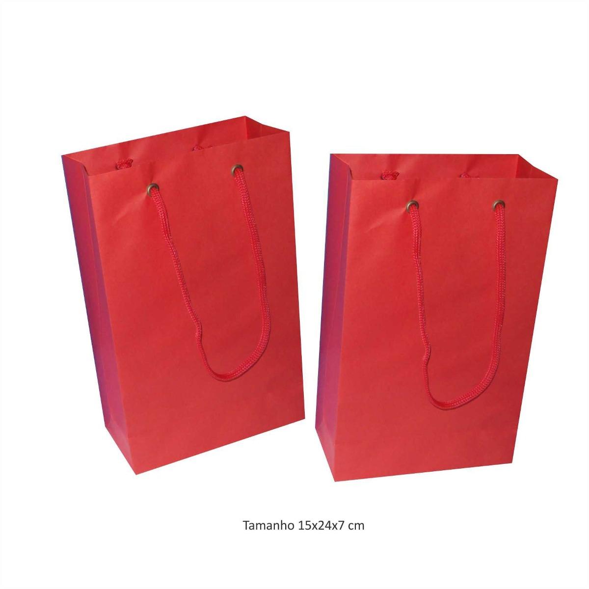 7121a51df sacola de papel pequena - cor vermelha - 10 unidades. Carregando zoom.