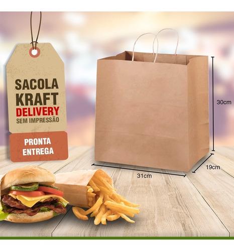 sacola papel delivery 31x18x30 100unid promoção promoção