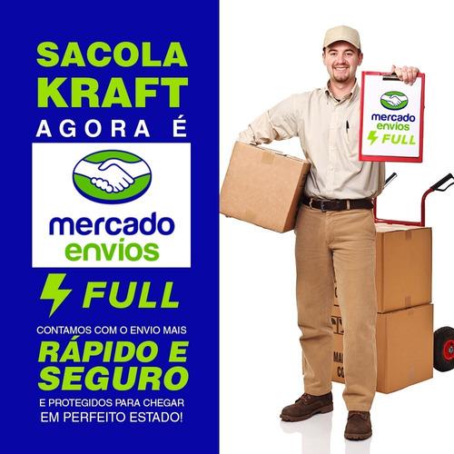 sacola papel kraft 31x11x39 100unid promoção promoção