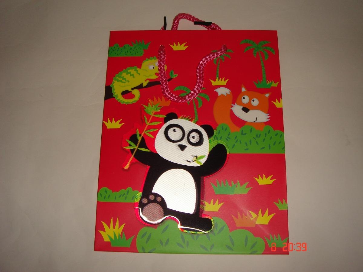 5e613ff933599d Sacola Para Presente Infantil , Panda 3d Conj 10un