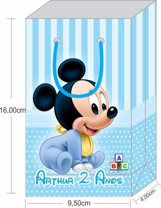 Sacola Personalizada 16x9 5x4cm Mickey Baby 50 Unidades R 60 75