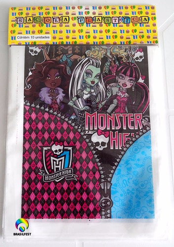sacola plastica - monster high (30 sacolas)