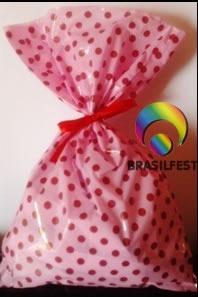 sacola plastica poa marrom/rosa (30 sacolas)