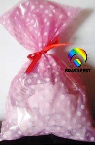 sacola plastica poa rosa/branco (30sacolas)