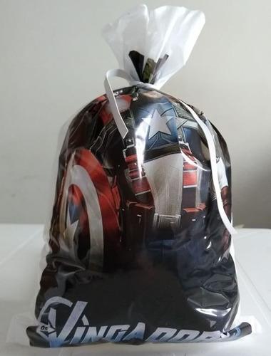 sacola plastica vingadores (30 sacolas)