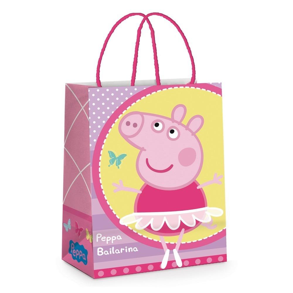 ee6446bdb Sacola P/presente Papel Peppa Pig Rosa 21,5x15cm C/10 - R$ 36,90 em ...