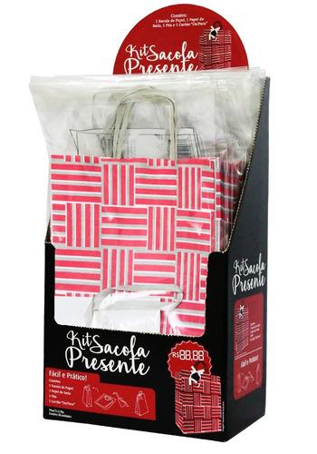 sacola presente (alça fita) c/ display 30 kits - embalagem