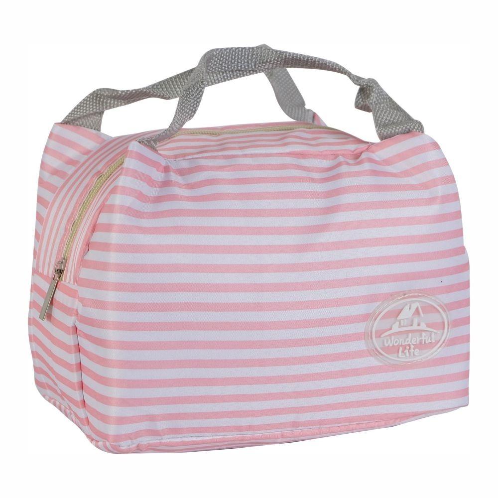 sacola térmica feminina rosa listras passeio piquenique. Carregando zoom. c604c33a681