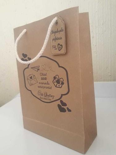 sacolas em papel kraft personalizado com logo e tag. 10 unid