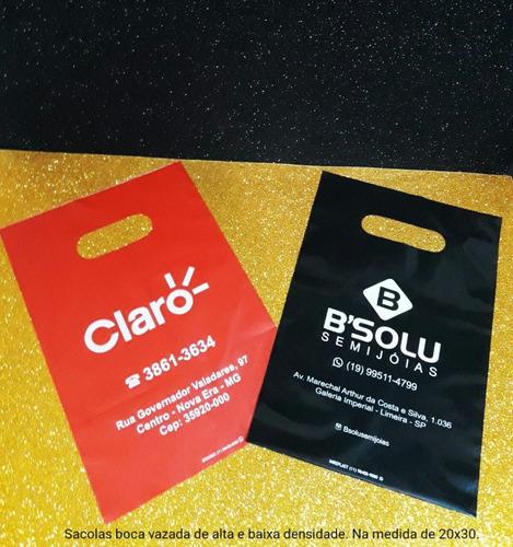 sacolas personalizadas 20 x 30 em 1 cor 1.000 peças hd