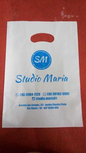 sacolas plásticas alça camiseta personalizada  tamanho 16x22