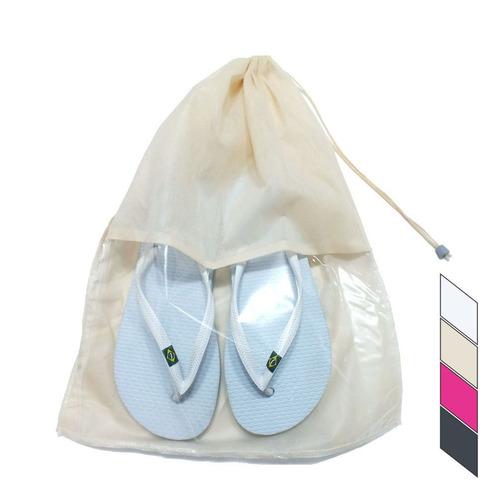 sacolas sacos organizador calçados com visor kit c/ 30 pçs