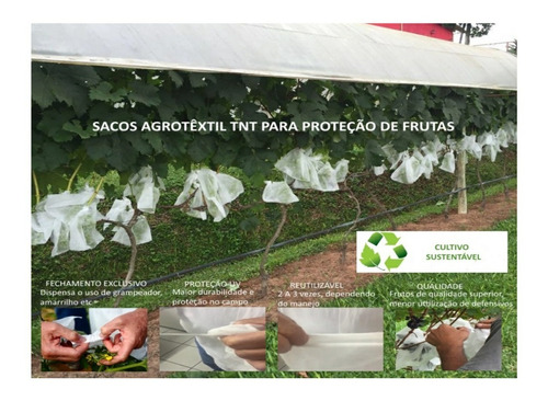 sacos agro tnt c/ elástico18x22cm proteção frutas 50un