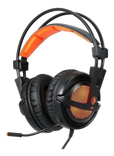 sades a6 auriculares de preto com laranja