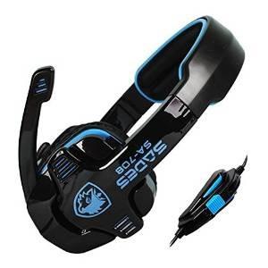 sades sa-708 stereo gaming auricular con micrófono (azul)
