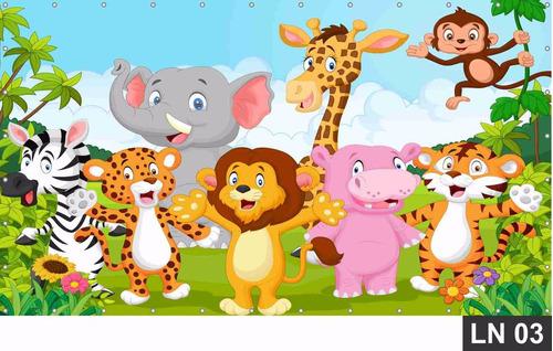 safari baby painel 2,50x1,50m lona festa aniversários