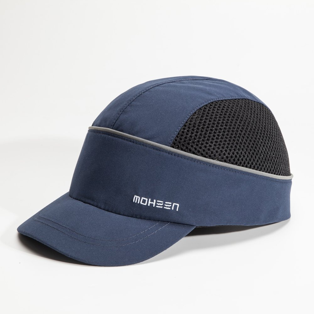 Lightweight and Breathable Hard Hat Head Protection Cap Safety Bump Cap with With Reflective Stripes Short,Blue